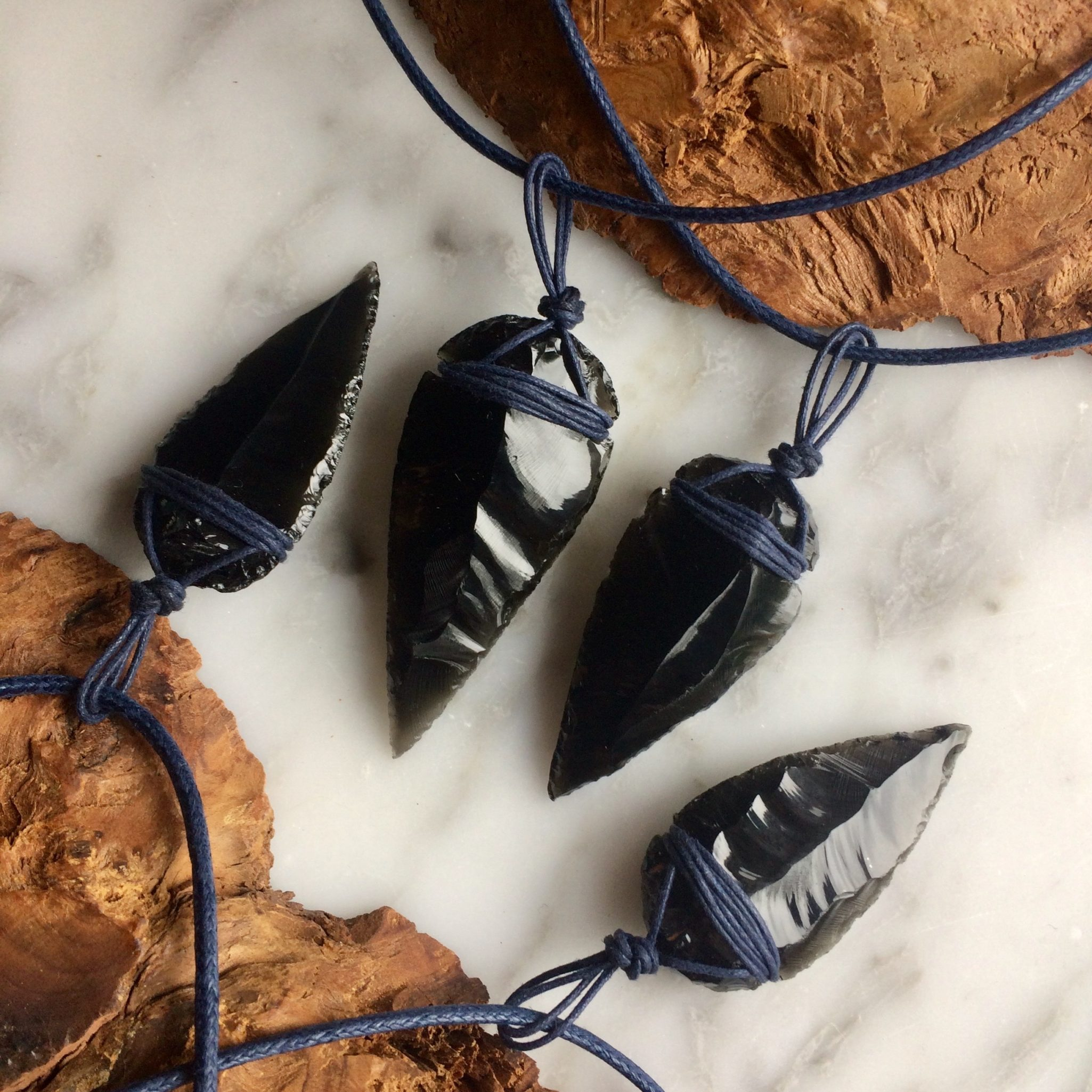 Black Obsidian and Blue Crystal Necklace